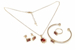 1-6477-f27 18kt Brazilian Gold Layered Kid Girls Red Crabby Complete Set. CZ 8mm, necklace 16 inches, adjustable ring and necklace, bangle is bendable.