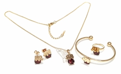 1-6477-f7 18kt Brazilian Gold Layered Kid Girls Red Elephant Complete Set. CZ 8mm, necklace 16 inches, adjustable ring and necklace, bangle is bendable.