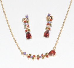 1-6483-f6 18kt Brazilian Gold Layered CZ Necklace and Earring Set. 18 inch necklace, 1 inch earrings.