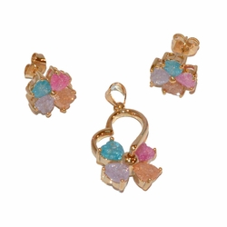 """1-6485-e11 Gold Plated Earring and Pendant Multicolored ICE CZ Set. Pendant has spinning clover. Earrings 11mm, Pendant 1.5""""."""