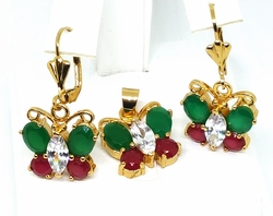"1-6492-f11 18kt Brazilian Gold Layered Green and Red Stones Butterfly Earring and Pendant Set. Earrings 1-1/2"", pendant 17mm."
