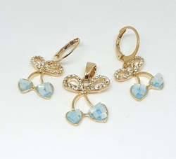 1-6677-f6 18kt Brazilian Gold Plated Blue Bow Earring and Pendant Set.