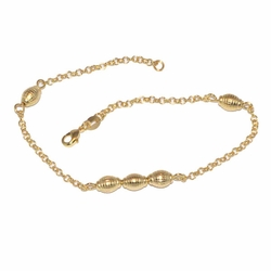 "10080-D2 10"" Oval Ball Anklet"