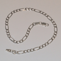"2-0103-e5 Sterling Figaro Link anklet 10"", 4mm"