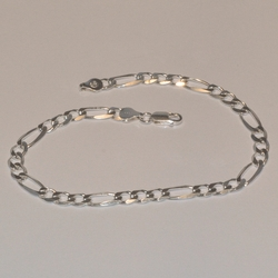 "2-0105-e5 Sterling Figaro Link Anklet 10"", 6mm"