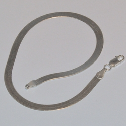 "2-0110-e5 Sterling Haring Bone Anklet 10"", 4.5mm"