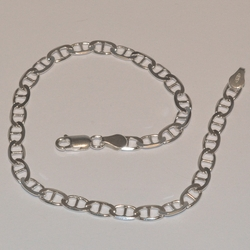 "2-0114-e5 Sterling Gucci link anklet 10"", 5mm"