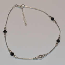 2-0117-e5 Sterling Beaded Anklet 10""