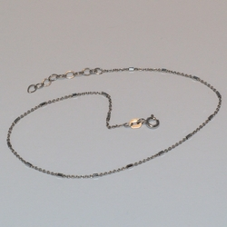 "2-0118-e5 Sterling Rhodium Plated anklet 10"", 1.25mm"