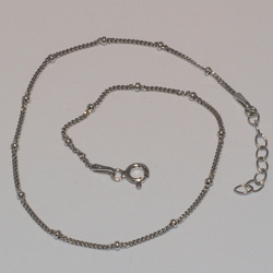 "2-0119-e5 Sterling Rhodium Plated Anklet 10"", 2mm"