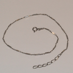 "2-0121-e5 Sterling Rhodium Plated Cubes Anklet 10"", 1.25mm"