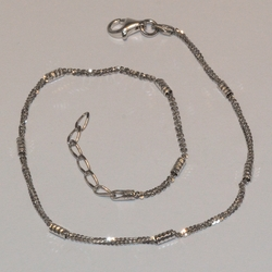 "2-0122-e5 Sterling Rhodium Plated Anklet 10"", 2mm"