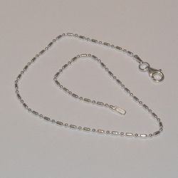 """2-0125-e5 Sterling 1x1 Beads Anklet 10"""", 1.5mm"""