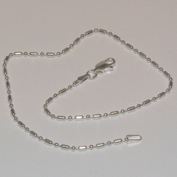 "2-0126-e5 Sterling 1x1 Beads Anklet 10"", 2mm"