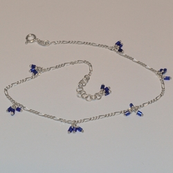 "2-0135-e5 Sterling Blue Cube Charms Anklet 10""-10.5"""