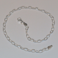 "2-0147-e5 Sterling diamond Cut Rolo Link Anklet 10"", 4mm"