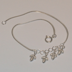 """2-0150-e5 Sterling Strawberry Charms Anklet 10"""""""