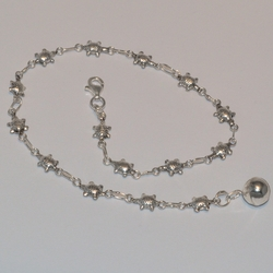 2-0154-e5 Sterling Turtles anklet 10""
