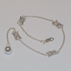 2-0155-e5 Sterling Butterfly anklet 10""