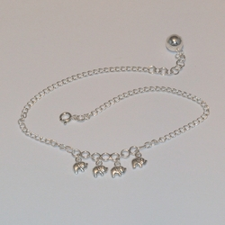 2-0158-e5 Sterling Elephant Charms Anklet 10""