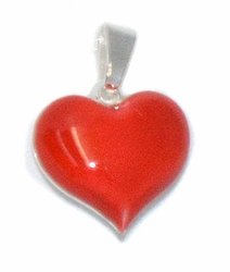 2-1584-D1 Sterling Silver Red Heart Charm