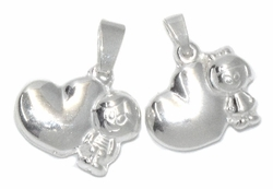 2-1585-D1 Sterling Silver Heart with Child Pendant
