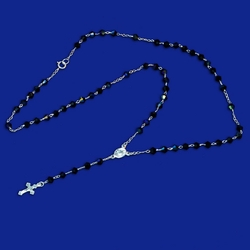 "2-2302-e10 Sterling Rosary necklace with Black Cystal Beads. 18"", 4mm beads, 3/4"" cross."