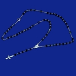 """2-2302-e10 Sterling Rosary necklace with Black Cystal Beads. 18"""", 4mm beads, 3/4"""" cross."""