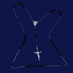 "2-2304-e10 Sterling Ultra Thin Rosary with Black Crystal Beads. 28"", 4mm beads, 1.5"" cross"