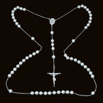 """2-2305-e10 Sterling Pearl Bead rosary necklace. 28"""", 6mm pearl beads, 1.5"""" cross."""