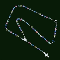 "2-2306-e10 Sterling Multicolor Crystals Rosary necklace. 18"", 5mm beads, 3/4"" cross."