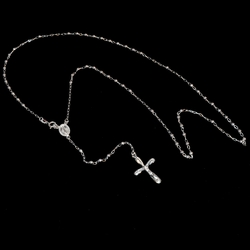 "2-2313-e10 Sterling Rosary Necklace. 24"", 3mm balls, 1.25"" cross."