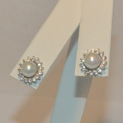 2-3117-e5 Sterling Pearl with CZ's Stud Earrings