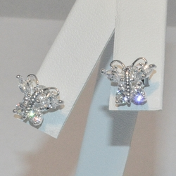 2-3121-e5 Sterling CZ Butterfly Earrings
