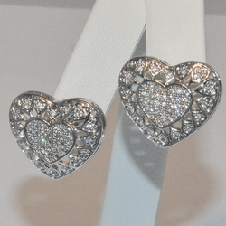 2-3162-e6 Sterling CZ Heart Earrings