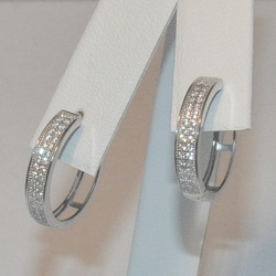 2-4147-1-e5 Sterling Double Jordan CZ Huggie Hoop Earrings