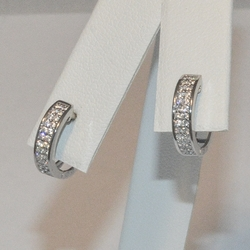 2-4203-e5 Sterling CZ Huggie Hoop Earrings