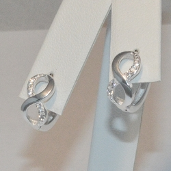 2-4224-e5 Sterling CZ Huggie Hoop Earrings
