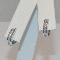 2-4274-e5 Sterling CZ Huggie hoop Earrings