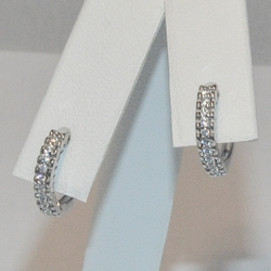 2-4283-e5 Sterling CZ Huggie Hoop Earrings