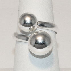 2-5044-e6 Sterling Double Ball Ring