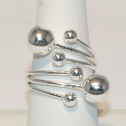 2-5048-e4 Sterling Sparkling Balls Ring