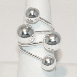 2-5065-e4 Sterling Balls Wrap Araound Ring
