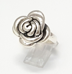 2-5074-f26 .925 Sterling Silver Puff Rose Ring.