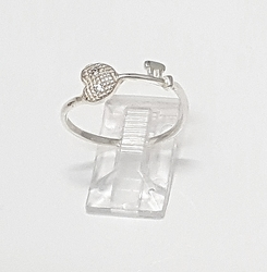 2-5079-f36 .925 Sterling Silver Heart key Ring with Crystal.