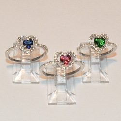 2-5090-e4  Sterling Heart CZ Rings (3 color available)