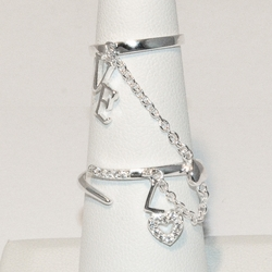2-5096-e4 Sterling Double Ring with Love Charms and link chain