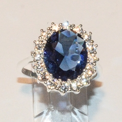 2-5110-e4 Sterling Saphire Blue CZ Ring