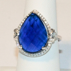 2-5120-e4 Sterling Multifaceted Marine Blue CZ Ring