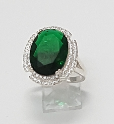 2-5121-f6 .925 Sterling Silver Emerald CZ Ring with White CZ Accents.